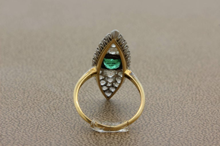 Women's or Men's Antique Emerald Diamond Gold Navette Ring For Sale