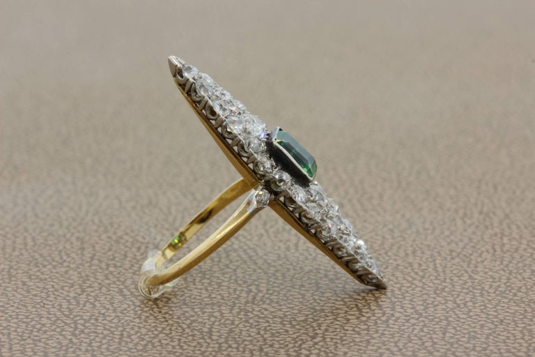 Antique Emerald Diamond Gold Navette Ring In Excellent Condition For Sale In Beverly Hills, CA