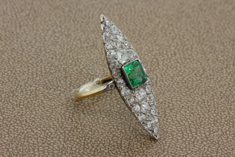 Emerald Cut Antique Emerald Diamond Gold Navette Ring For Sale