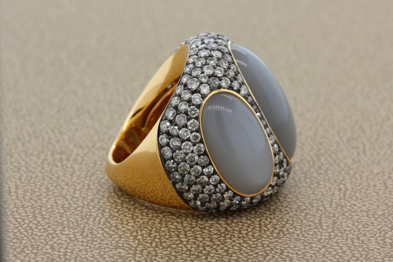 Contemporary Moonstone Diamond Gold Cocktail Ring  For Sale