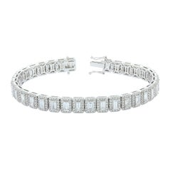 Emerald Cut Diamond Halo Gold Bracelet