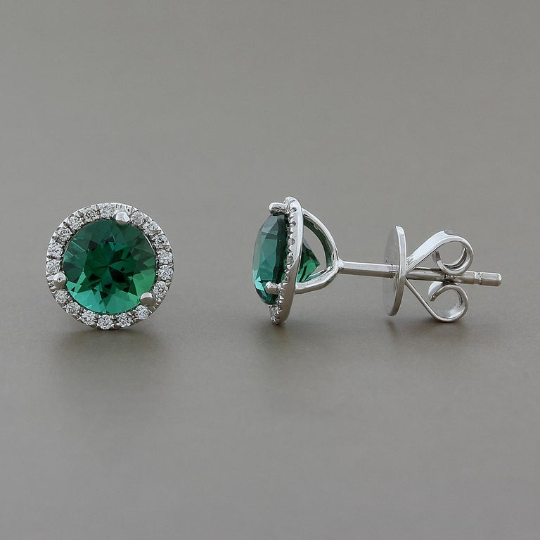 Green Tourmaline Diamond Gold Stud Earrings In New Condition For Beverly Hills Ca