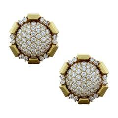 Estate Diamond Gold Clip-On Earrings