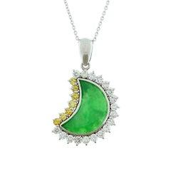 Jade White and Yellow Diamond Platinum Moon Pendant