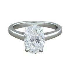 3.00 Carat Diamond Oval Cut E-I1 Platinum Engagement Ring, GIA