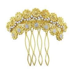 Estate Diamond Gold French Hair Comb