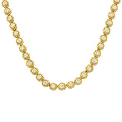 Estate Diamond Gold Floret Necklace