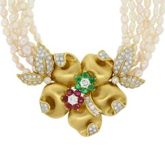 Estate Emerald Ruby Diamond Freshwater Pearl Flower Gold Necklace