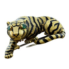 David Webb Tiger Brooch Emerald Black Enamel