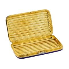 Vintage Diamond Gold Blue Enamel Stripes Multi-Use Case Compact