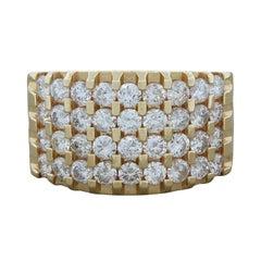Four-Row Diamond Gold Band Ring