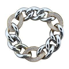 Magnificent Diamond Two-Tone Gold Link Bracelet