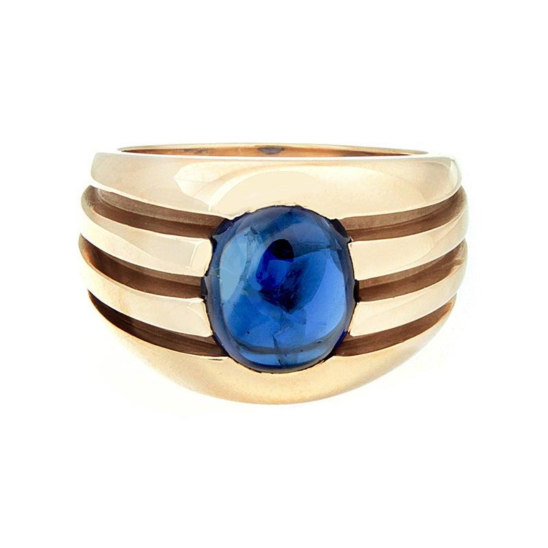 Estate Men's Cabochon Sapphire Gold Ring