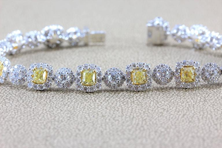 Women's Fancy Yellow White Diamond Gold Tennis Bracelet For Sale