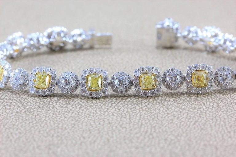 Fancy Yellow White Diamond Gold Tennis Bracelet 4