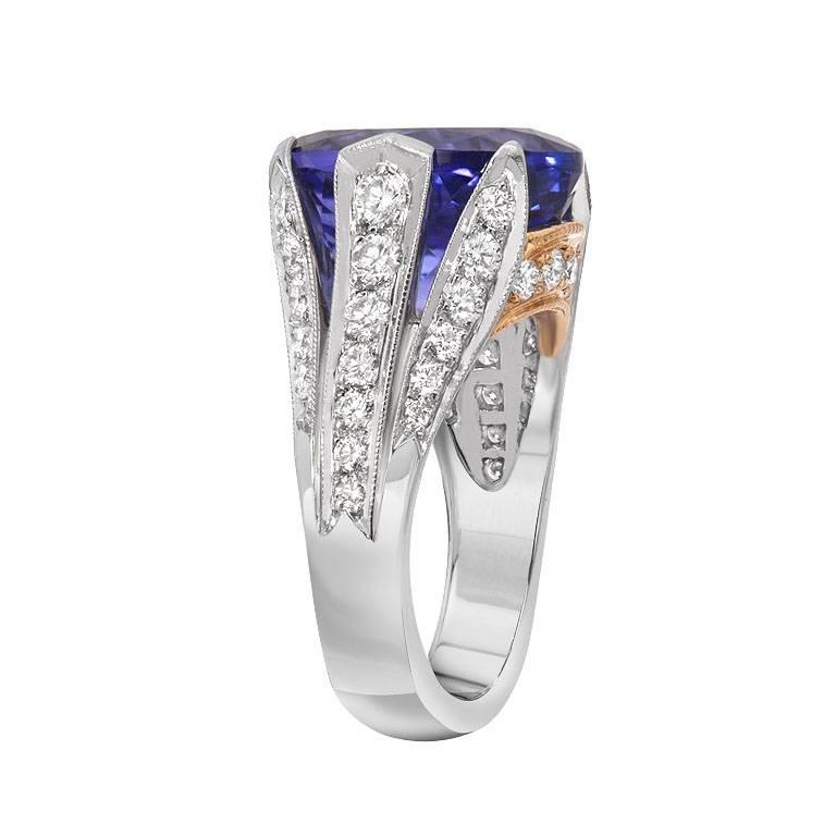 tanzanite platinum gold cocktail ring for sale at