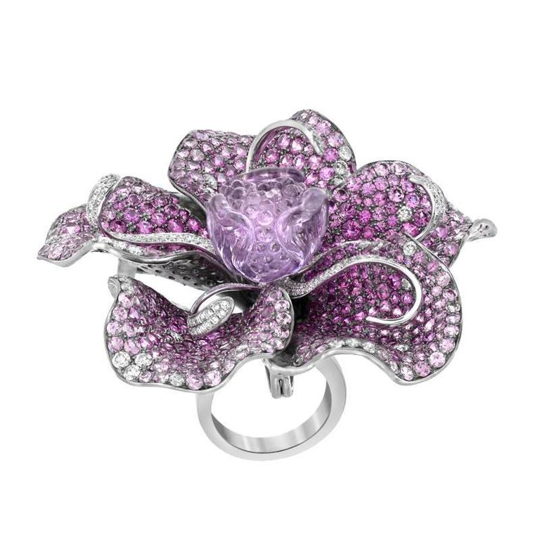 Diamond Sapphire Amethyst Gold Flower Ring Pendant Brooch For Sale