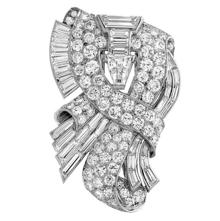 Retro 1930s Tiffany & Co. Diamond Platinum Clip Brooch
