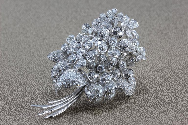 Diamond Gold Flower Bouquet Brooch In New Condition For Sale In Beverly Hills, CA