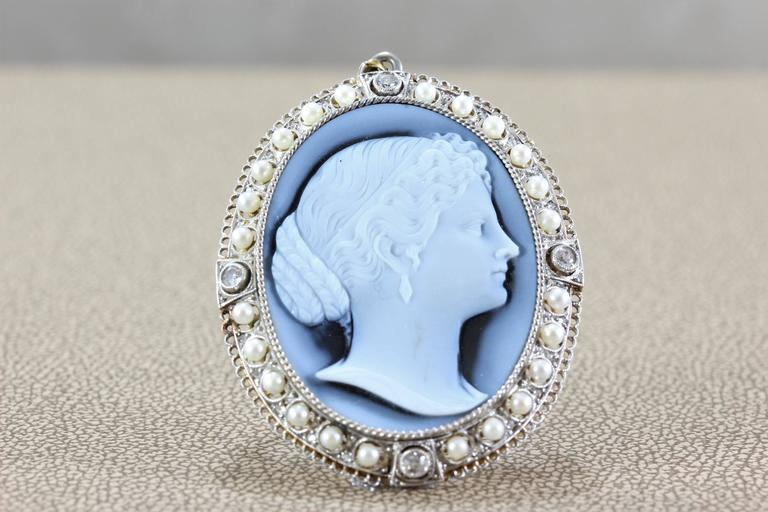 Victorian Hardstone Cameo Diamond Seed Pearl Gold Brooch Pendant In New Condition For Sale In Beverly Hills, CA