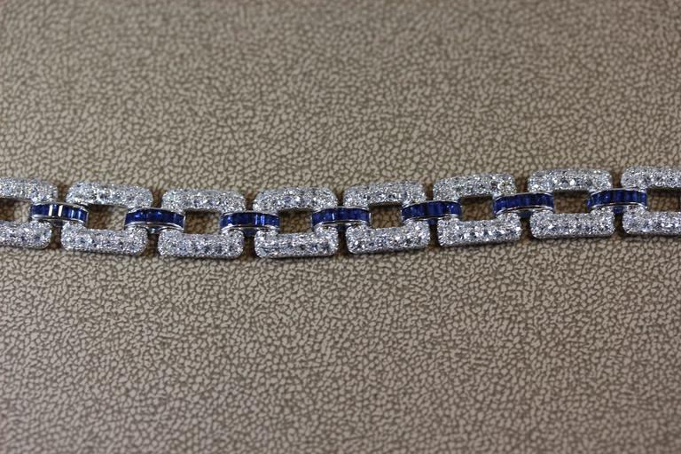 Art Deco Sapphire Diamond Platinum Link Bracelet  3