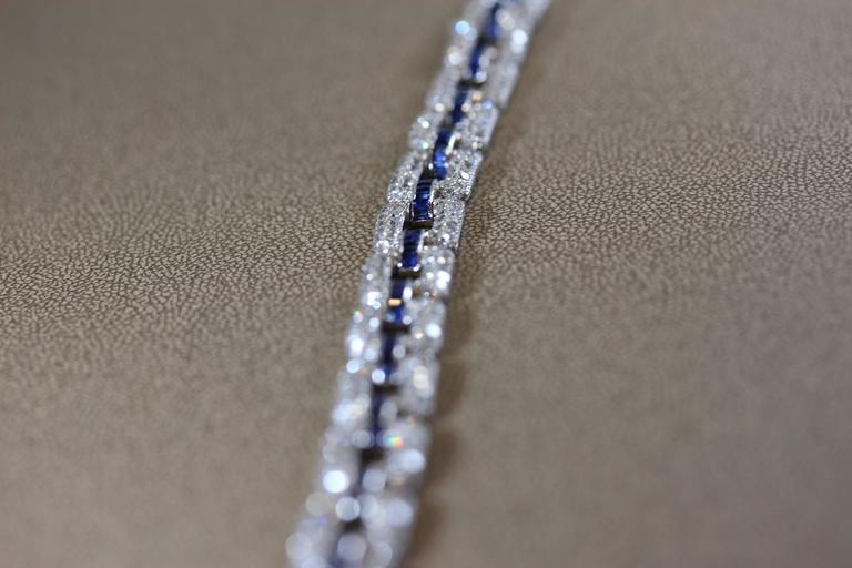 Art Deco Sapphire Diamond Platinum Link Bracelet  4