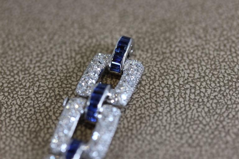 Art Deco Sapphire Diamond Platinum Link Bracelet  5