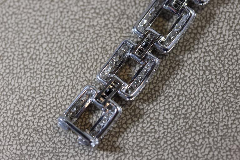 Art Deco Sapphire Diamond Platinum Link Bracelet  6