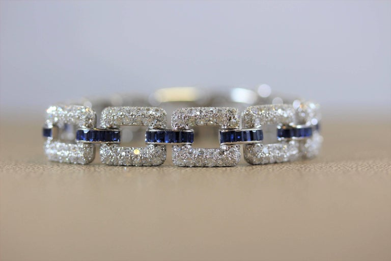 Art Deco Sapphire Diamond Platinum Link Bracelet  2