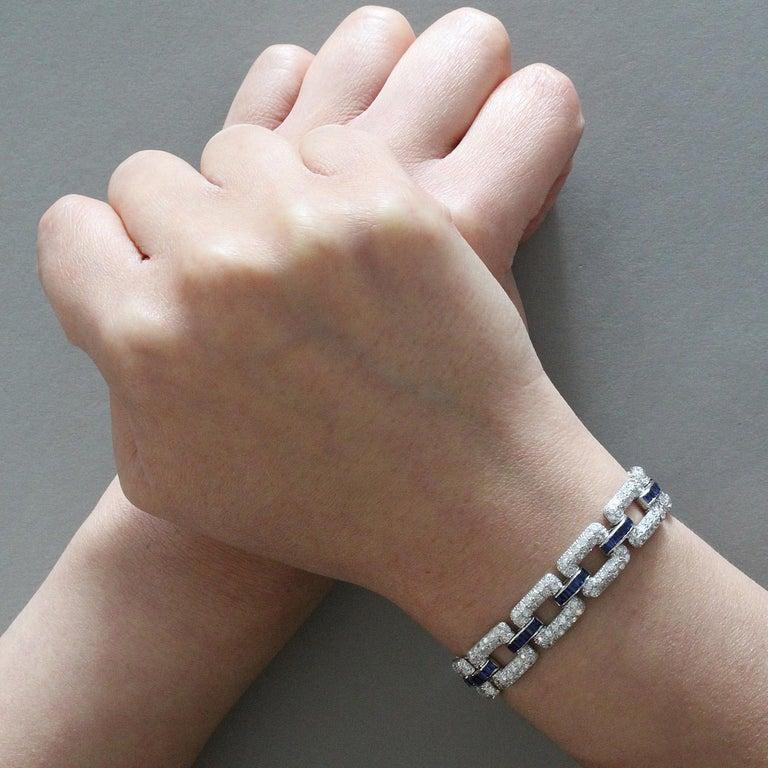 Women's Art Deco Sapphire Diamond Platinum Link Bracelet  For Sale