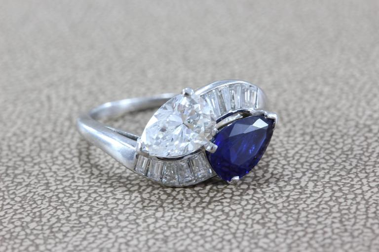 GIA Certified Diamond Sapphire Platinum Bypass Ring In New Condition For Sale In Beverly Hills, CA
