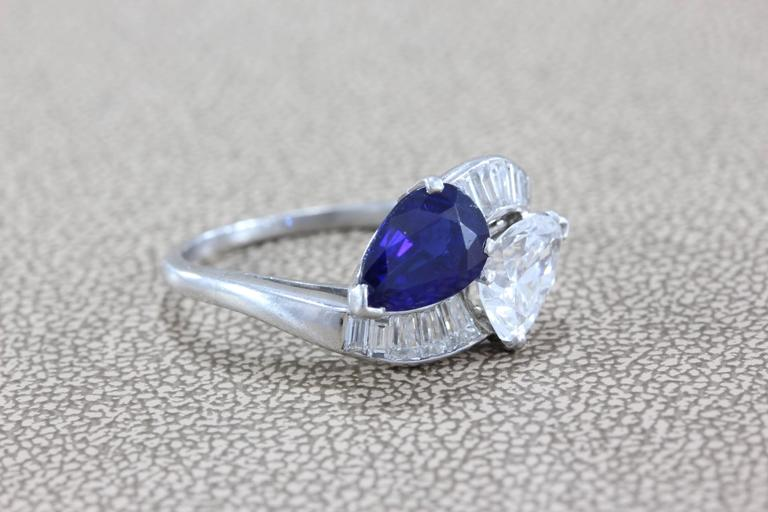 Women's GIA Certified Diamond Sapphire Platinum Bypass Ring For Sale