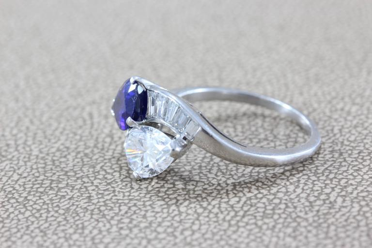 GIA Certified Diamond Sapphire Platinum Bypass Ring For Sale 1