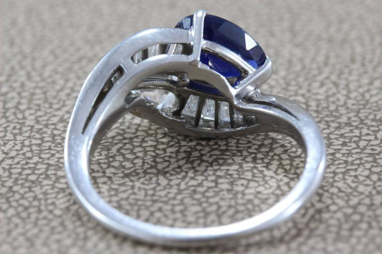 GIA Certified Diamond Sapphire Platinum Bypass Ring For Sale 3