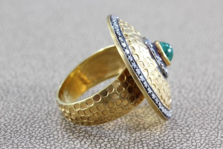 Women's Diamond Emerald Gold Shield Ring For Sale