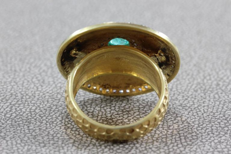 Diamond Emerald Gold Shield Ring For Sale 1