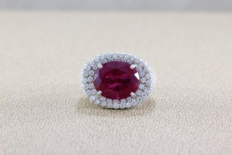 Large Rubellite Tourmaline Diamond Gold Cocktail Ring In New Condition For Sale In Beverly Hills, CA