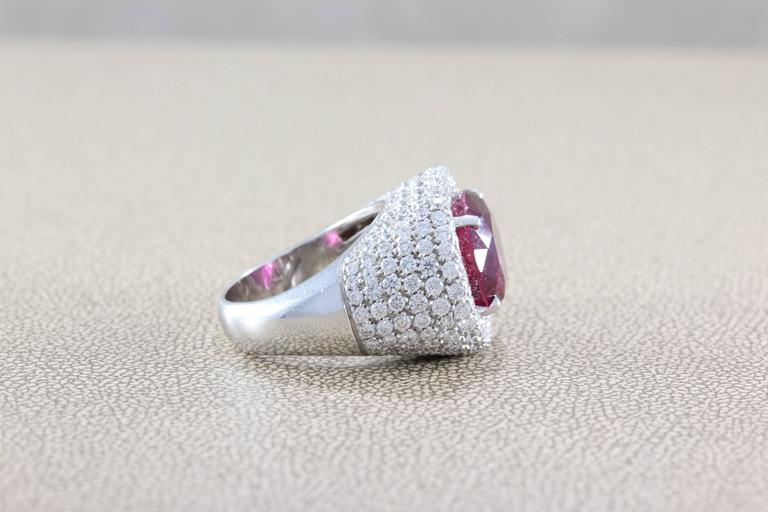 Women's or Men's Large Rubellite Tourmaline Diamond Gold Cocktail Ring For Sale