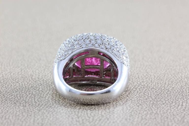 Large Rubellite Tourmaline Diamond Gold Cocktail Ring For Sale 1