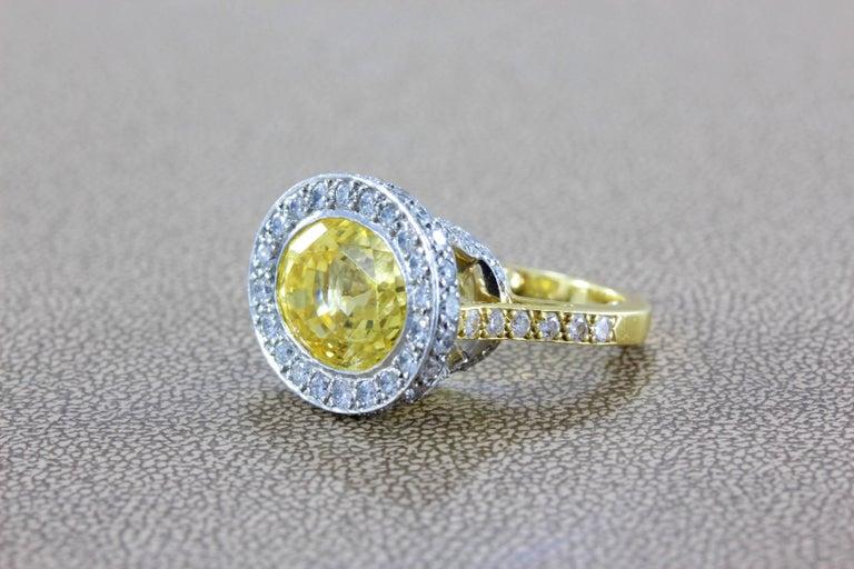 3b4bea1f21096 GIA Certified Yellow Sapphire Diamond Gold Platinum Cocktail Ring