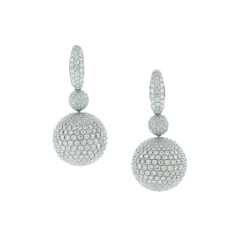 Diamond Pave Sphere Gold Drop Earrings