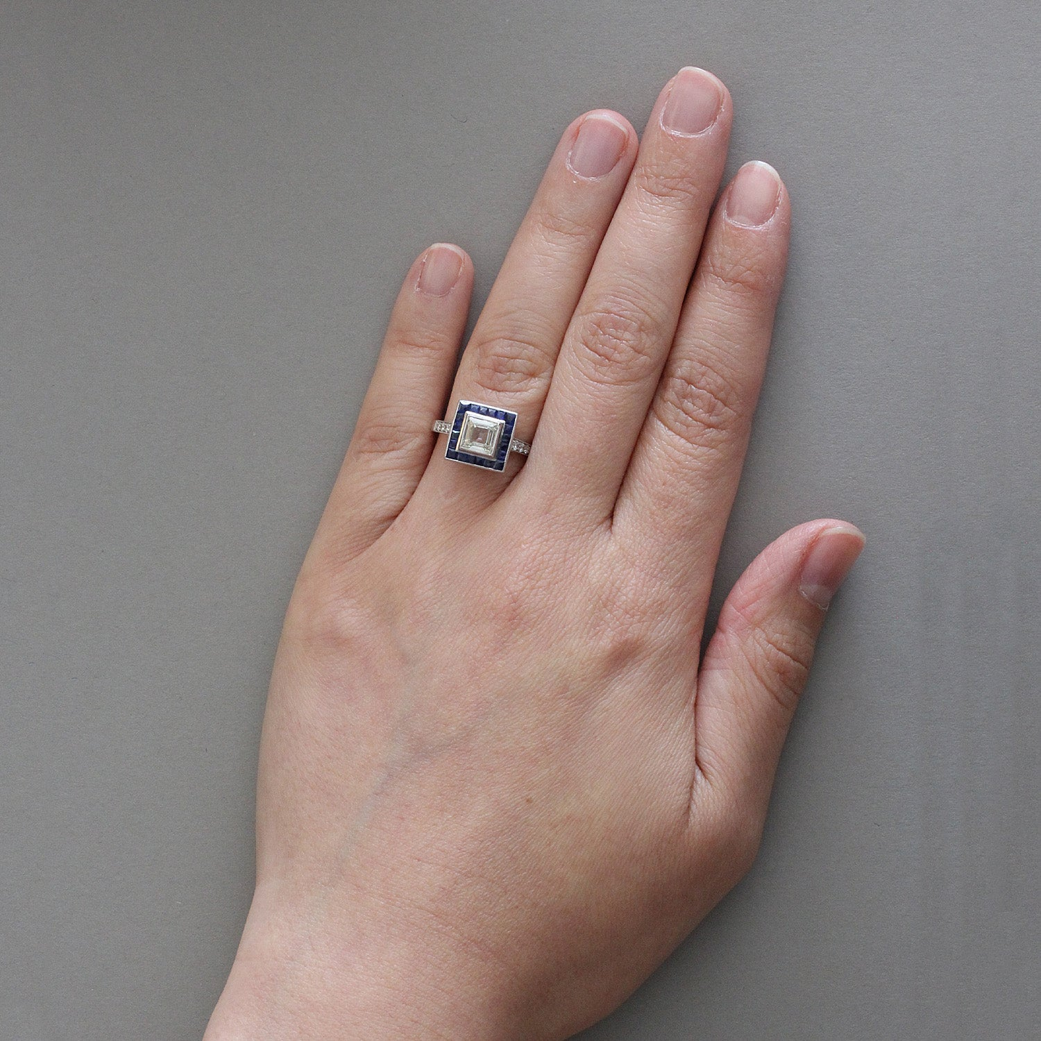 Diamond Square Shape Sapphire Halo Gold Engagement Ring For Sale at ...