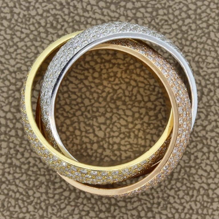 Diamond Gold Trinity Band Ring In New Condition For Sale In Beverly Hills, CA
