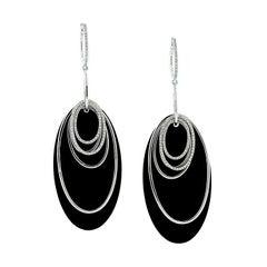 Modern Italian Onyx Diamond Gold Multi Hoop Drop Earrings