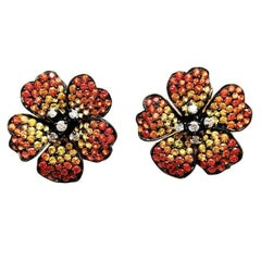 18K White gold Orange Yellow Sapphire Diamond Gold Small Flower Stud Earrings