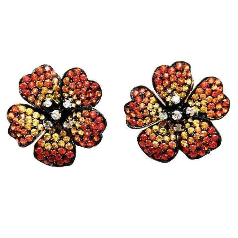 Orange Yellow Sapphire Diamond Gold Small Flower Stud Earrings