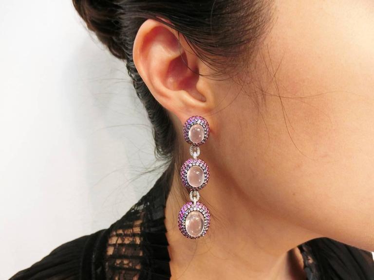 18K White gold Pink Sapphire Ruby Rose Quartz White Gold Oval Earrings