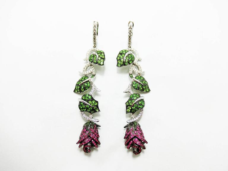 Ruby Tsavorite Diamond White Gold Rose and Leaf Earrings  2