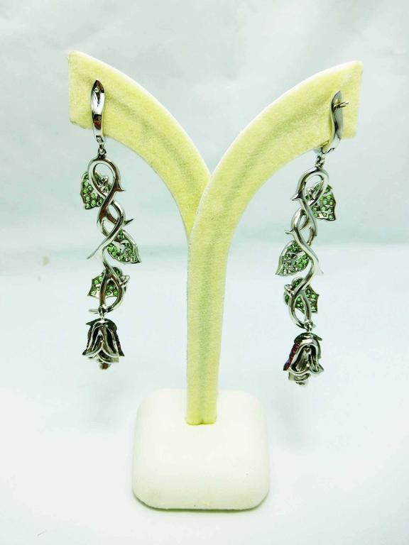 Ruby Tsavorite Diamond White Gold Rose and Leaf Earrings  3