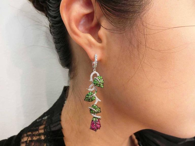 Ruby Tsavorite Diamond White Gold Rose and Leaf Earrings  5